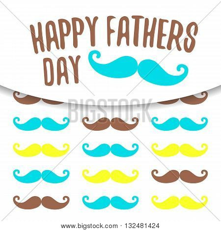 Cute flat style card postcard background for happy fathers day. Happy fathers day cover with colorful mustache shadow text space banner