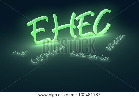 3D rendering of EHEC coli bacteria text. A currently ongoing Escherichia coli O104:H4 bacterial outbreak began in Germany in May 2011.