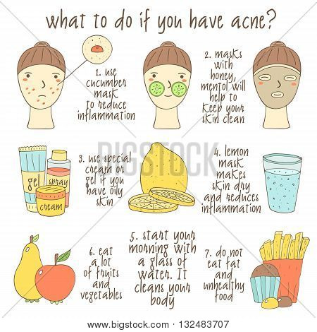Cute hand drawn doodle infographic about what to do if you have acne. Objects collection including faces lemon glass of water cream gel apple pear muffin fries face mask. Skin problems icons