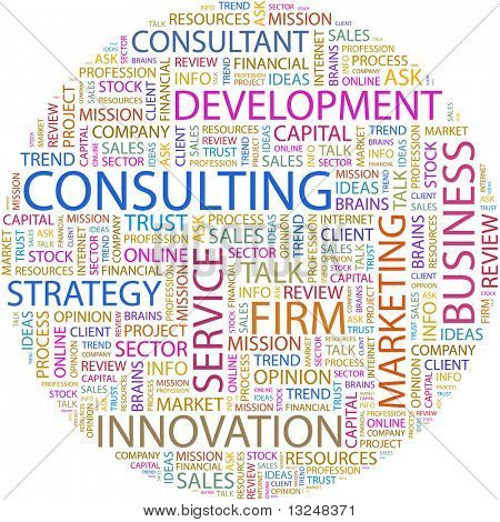 CONSULTING. Word collage on white background. Vector illustration.