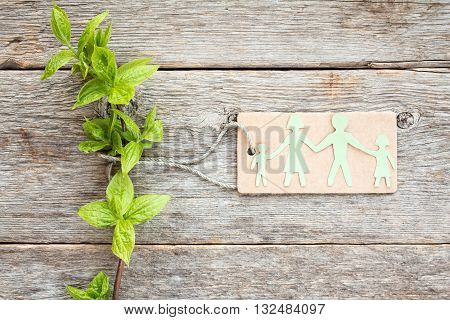 Concept of eco with green plant and paper cutout family