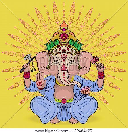 Vector illustration. The mythology of India. Great Lord Ganesha. God of abundance with an elephant head