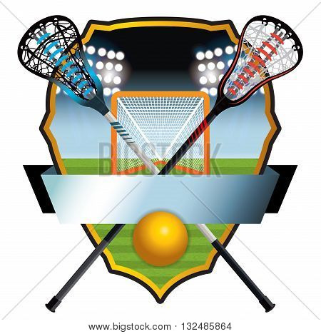 A lacrosse emblem with sticks ball and goal on a lacrosse field badge. Vector EPS 10 available. poster