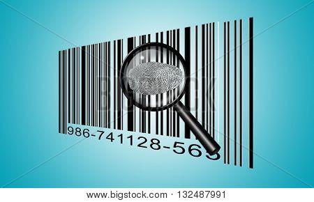 Finger Print Barcode 3d Render