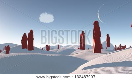 figures in red robes in the desert 3d Render