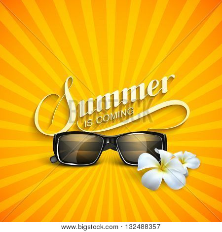 vector typographic illustration of handwritten Summer retro label with sunglasses and flowers. lettering Summer floral composition. Vector sunglasses. Vacation Summer vector concept with sunglasses