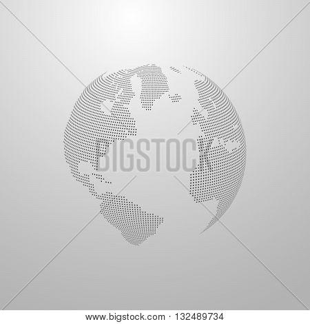 vector illustration of a world map. globe label design. world global communication concept. international communication concept. global world vector map. halftone vector world map