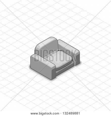 Armchair or couch vector illustration. 3d isometric vector armchair or couch. Isometric vector furniture. Furniture illustration of armchair or couch