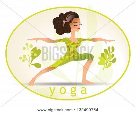 Yoga poses. Vector illustration made in cartoon style. Yoga exercises. Women yoga. Yoga class, yoga center, yoga studio. Yoga poster. Healthy lifestyle.