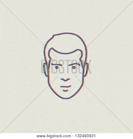Man face. Vector illustration of man face. Fashion illustration of man sign. Man face icon. Male face illustration.