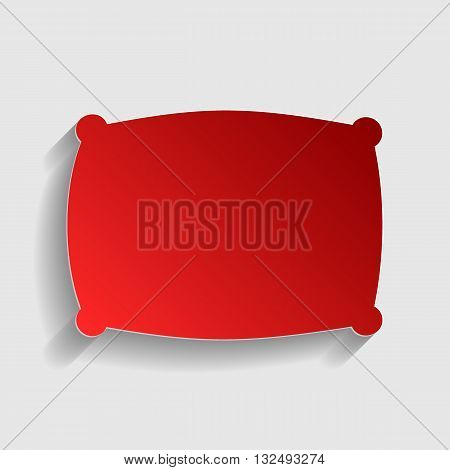 Pillow sign illustration. Red paper style icon with shadow on gray.