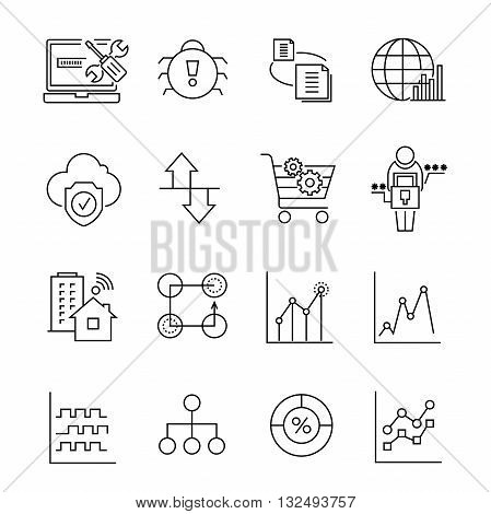 set of 16 network and data analytics outline icons