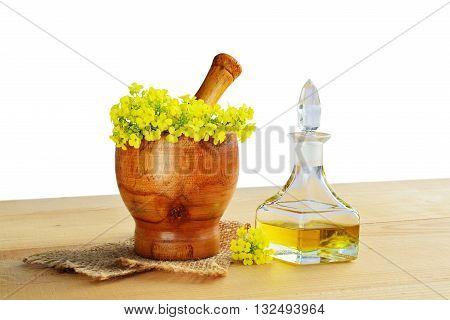 Rapeseed oil in glass bottle with rape flowers in wooden mortar.