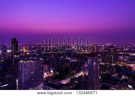 high building in city on cityscape background and twilight time - can use to advertise or montage on your product