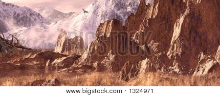 image from an original 9.5x24 painting of a hawk soaring in the colorado rockies.  poster