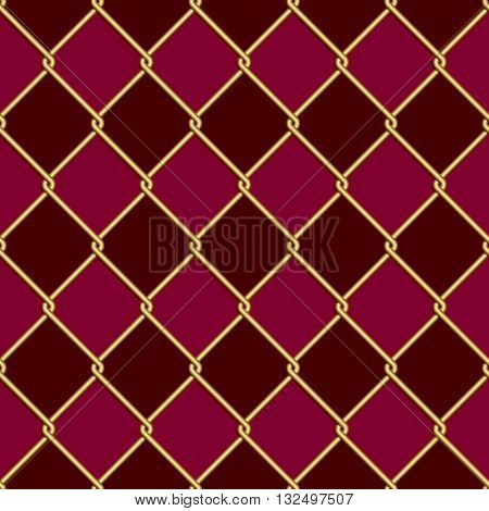 Gold wire grid seamless pattern on dark red and purple rhomboids background. Vector illustration