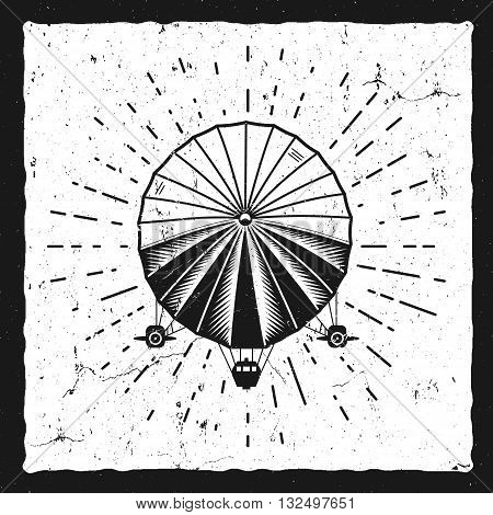Vintage airship background. Retro Dirigible balloon grunge poster template. Steampunk vector design. Steam punk old sketching style. Use as brochure, poster for web design or tee design, t-shirt print.