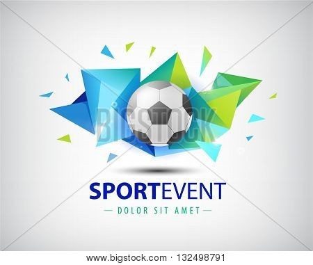 Vector logo football, championships soccer. isolated. Football ball on colorful faceted origami abstract background. Icon, logo, composition, illustration