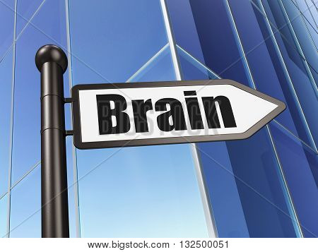 Health concept: sign Brain on Building background, 3D rendering