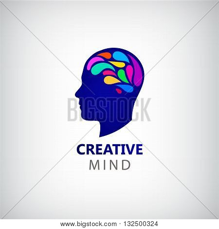 Vector man face silhouette with colorful brain. Abstract brainstorming creative sign or symbol. Creativity, generating ideas, minds flow, thinking, imagination, inspiration concept.