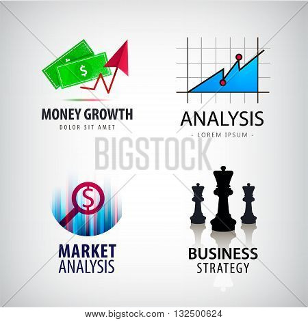 Vector set of business concept logos, business strategy logo with chess, market and financial analysis logos, money growth logos