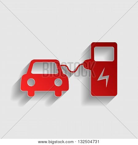 Electric car battery charging sign. Red paper style icon with shadow on gray.