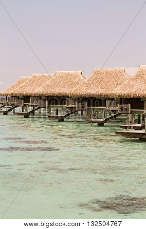Five overwater bungalows in Moora French Polynesia