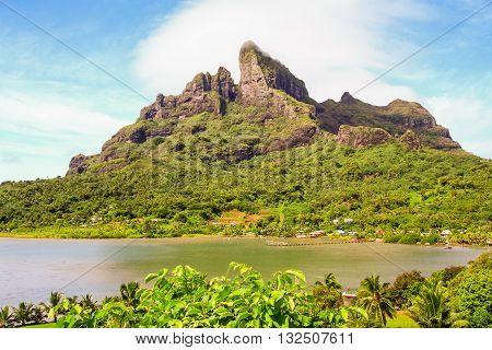 Mount Otemanu and  lagoon Bora Bora French Polynesia
