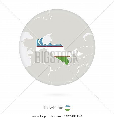 Map Of Uzbekistan And National Flag In A Circle.