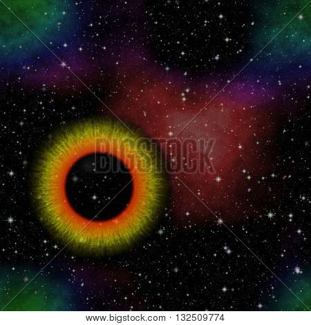 Nebula in the shape of the eye. Mysterious view into the depths of space. Mysterious eye. Mysterious view. Eye in outer space. Eye in the galaxy.