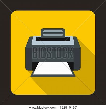Modern laser printer icon in flat style on a yellow background