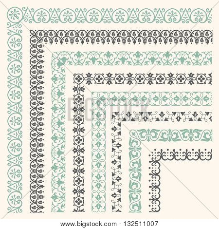 Decorative seamless ornamental border with corner