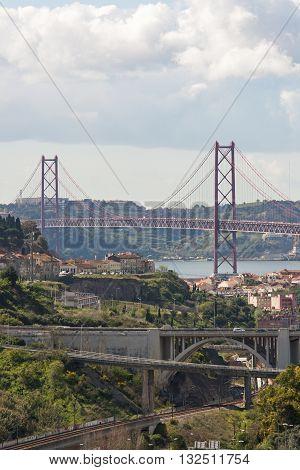 View of 25 April Brige in Lisboa Portugal