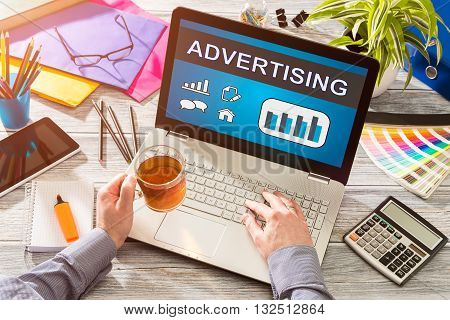Advertise Advertising Advertisement Branding Commercial - Stock Image