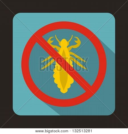 No louse sign icon in flat style on a blue background