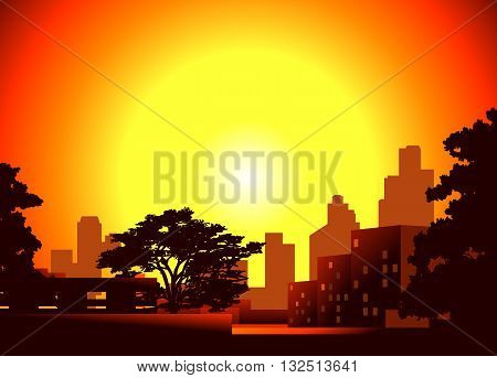 Vector illustration of a dusk in the city