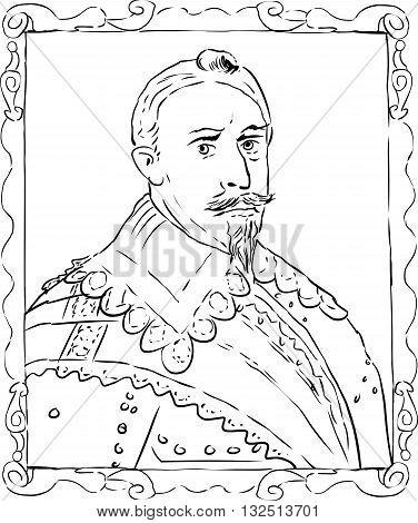 Outline Sketch Of King Gustav Ii Adolf Of Sweden