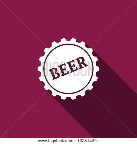 Beer bottle cup simple icon with long shadow. Vector Illustration