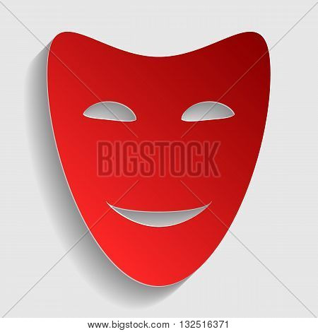 Comedy theatrical masks. Red paper style icon with shadow on gray.
