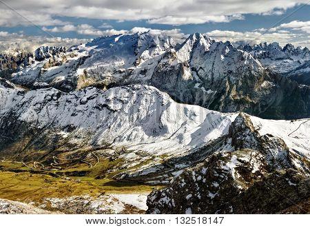 view from Sass Pordoi to massif Marmolada Dolomites Italy