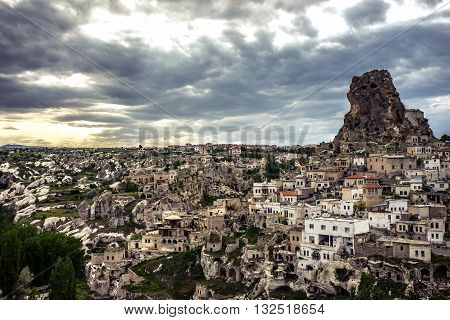 Uçhisar of Cappadocia looks excellent under heavy clouds
