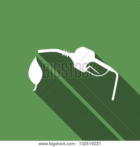 Bio fuel vector symbol icon with long shadow. Vector illustration