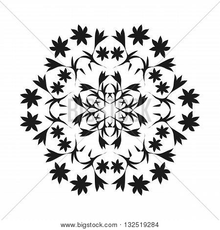Ornament black white card with mandala. Geometric circle element. Vector illustration