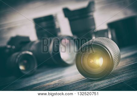 Professional Photography Lens Equipment Photographer Work Photo Lenses - Stock Image