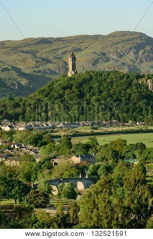 Stirling Bridge across the Rover Forth and the Wallace Monument in background. Stirling is the location of the Scottish victory at the 1297 Battle of Stirling Bridge.