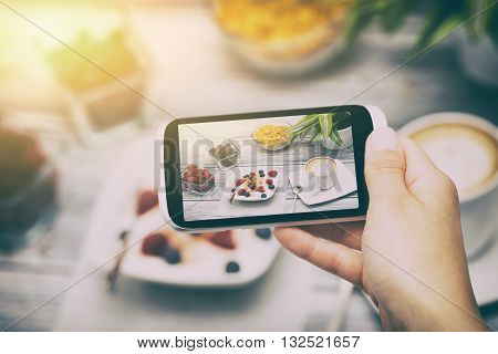 food phone photo selfie hand breakfast smart meal social media - stock image