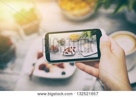 food phone photo selfie hand breakfast smart meal social media - stock image