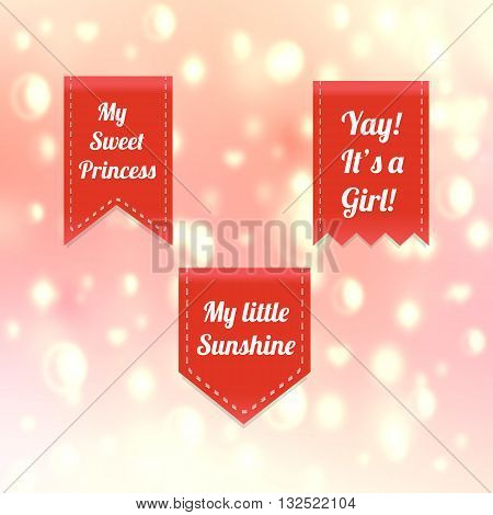 It's a girl. Cute pink baby icons. Pink icons set vector. Beautiful pink ribbons set devoted to newborn Baby Girl on pink background. Cute pink labels with text my sweet princess. Pink tags with text.
