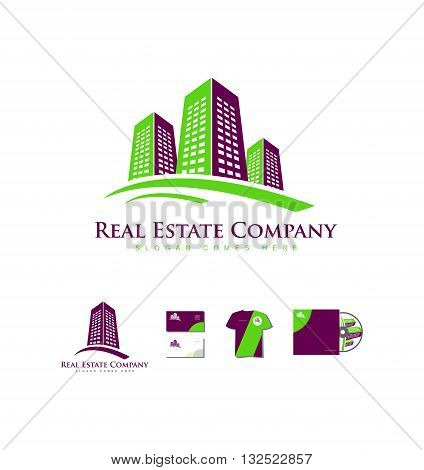 Vector company logo icon element template real estate building skyscraper city construction