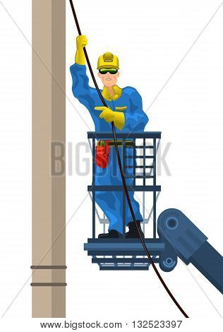 Vector illustration of a electrician mounts wire